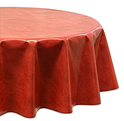 Wachstuchtischdecke OVAL RUND ECKIG Farbe u. Größe wählbar, Tischdecke Wachstuch abwischbar, Marmor (Rot Rund 140) -