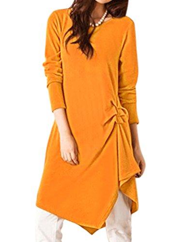 sourcingmap Femme Côtés Froncés Ourlet Irrégulier Robe Tunique Orange