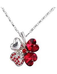 8cc30d80a9d1 FENICAL Collar de trébol de Cuatro Hojas con Cristales en Forma de corazón