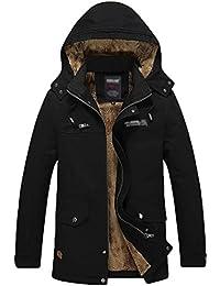 ZKOO Veste Epais à Capuche Militaire Manteau de Chaud Fourrure Parka D'Hiver Windbreak Outwear pour Homme