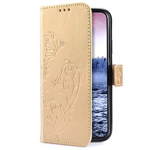 Uposao Kompatibel mit Samsung Galaxy A6 2018 Hülle Handytasche Retro Schmetterling Blumen Handyhülle Muster Leder Tasche Wallet Flip Case Cover Schutzhülle Lederhülle Bookstyle Magnet,Gold