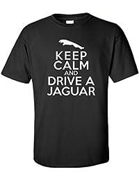 Keep Calm And Drive A Jaguar T-Shirt, Mens, Black, Large