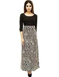 Adyuth Geometric Black Printed Maxi Dresses