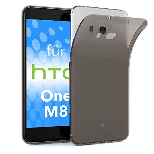 EAZY CASE HTC One (M8) / (M8s) Schutzhülle Silikon, Ultra dünn, Slimcover, Handyhülle, Silikonhülle, Backcover, Durchsichtig, Klar Anthrazit