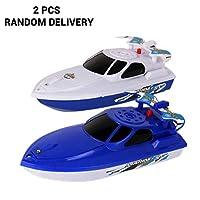 Creamon Speedboat Bath Toys,K2 2Pcs Electric Boat Speedboat Bath Toys Tub Water Play Toys for Kids Baby