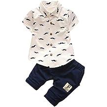 Mono bebé ❤️ Amlaiworld Recién nacido Niño pequeño Niños Bebés Barba Camiseta Tops + Pantalones cortos Conjunto de ropa