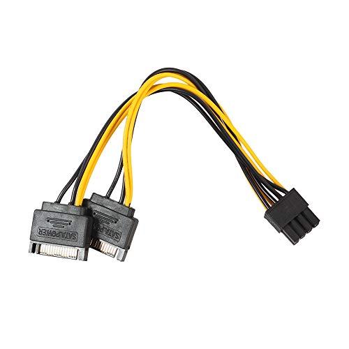 15-poliger SATA-Stecker auf 8-poliges (6 + 2) PCI-E-Videokarten-Netzteiladapterkabel (Gelb)
