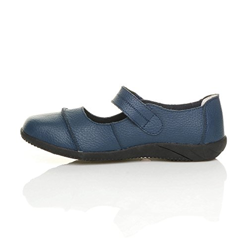 Damen Echtleder Breit Leder Ballerinas Geschlossene Slipper Arbeit Komfort Klettverschluss Schuhe Größe Marineblau