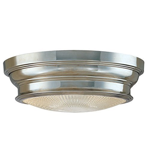 Hudson Valley Lighting Woodstock 2-Light Flush Mount - Polished Nickel Finish with Clear Prismatic Glass Shade by Hudson Valley Lighting - Clear Prismatic Glass