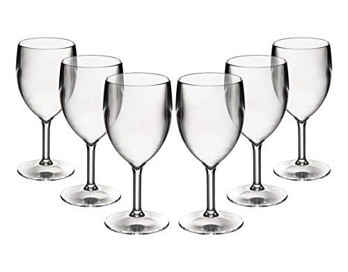 Satz von 6 Roltex-Polykarbonat, unzerbrechlicher, widerverwendbarer, europäischer verfertigter KLEINER Wein-Brille. Kapazität 200ml, Höhe 14.9 Cm, Maximales Diameter 6.7 Cm