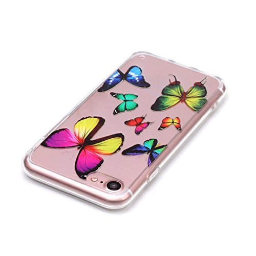 SainCat Custodia per Apple iPhone 7 Cover,Ultra Slim trasparente TPU Crystal Clear Morbido Copertura Case Cover per iPhone 7,Disegni Lusso Vans Belle Creative Marvel Fantasia Campanula Puro Trasparent farfalla colorata