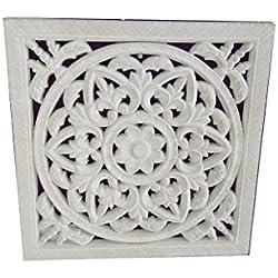 DonRegaloWeb - Cuadro - Mandala de madera calado blanco decapado cuadrado 30X30X1,2