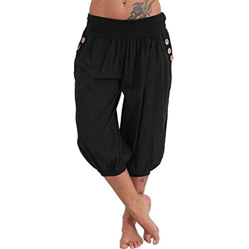 Damen Pumphose cinnamou Hosen Solid Elastische Taille Yoga Capris Boho Check Hosen Sommer Elegant Leicht Hohe Taillen Freizeithose Haremshose Lange Hose (XL, Schwarz)