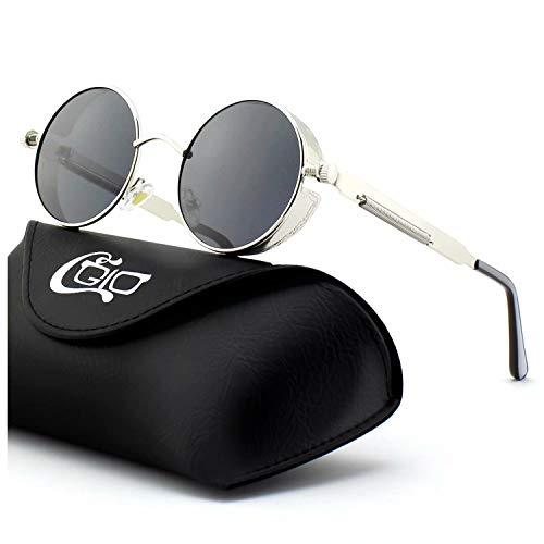 CGID Retro Sonnenbrille im Steampunk Stil, runder Metallrahmen, polarisiert, für Frauen und Männer, (Frauen Steampunk Kostüme)