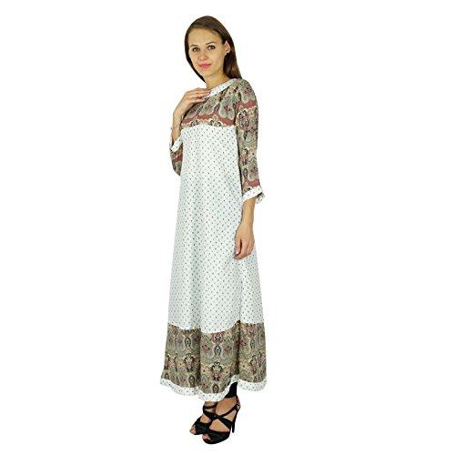 Phagun concepteur bollywood kurta femmes robe coton kurti Blanc Cassé Et Beige