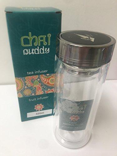 320ml Thermosensibles Bouteille de Thé Avec Effet Thermique en Verre Double-Paroi , avec infuseur de thé, parfait pour des thé en feuilles, ice tea ou infuser un goût dans l'eau