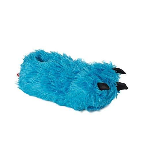 funslippers Herren Hausschuhe Tierhausschuhe Puschen Pantoffeln Schlappen Krümel Monster Tatze Blau Plüsch Warm Gepolstert Sneakersohle XL 45/47 EU