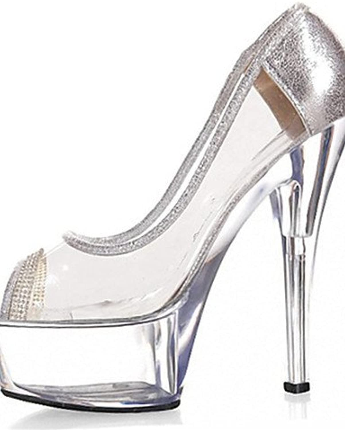 GGX/New 15 cm Crystal Auto Diamant Glitzer High Heels Damen Schuhe PVC/Heels/Peep Toe Heels Hochzeit/Outdoor/Party