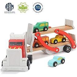 TOP BRIGHT Jouet Camion Enfant 2 Ans en Bois,Cadeau Camion Voiture pour Enfant, Jouet Camion Transporteur pour Garçon de 1 an 2 Ans avec 4 Petites Voitures