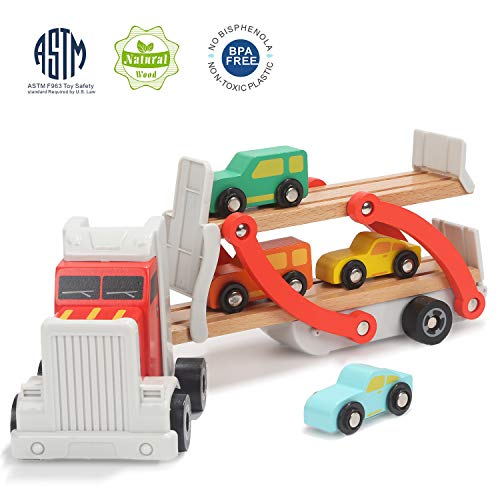 TOP BRIGHT Autotransporter Spielzeug Holz, LKW Spielzeug mit Anhänger und Autos, Holz Spielzeug 2 Jahre Jungen (Top Jährigen Für Jungen Spielzeug 2)
