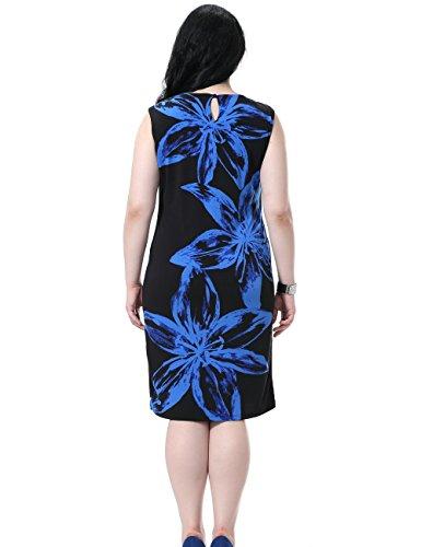 Chicwe Femmes Grande Taille Bordée Placement Imprimer Robe sans manches EU44-60 Bleu/Noir