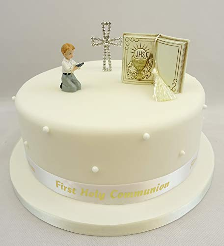 The Cake Emporium Ltd Décoration de gâteaux première Communion garçon – Bible – Diamante Croix – Ruban pour gâteau