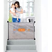 Dreambaby® Retractable Gate (0 to 140cm) Extra-Tall Relocatable Mesh Safety Gate, Narrow to Extra Wide Baby & Dog Pet Stair Gate for Doorways Stairways & Hallways, Indoor & Outdoor