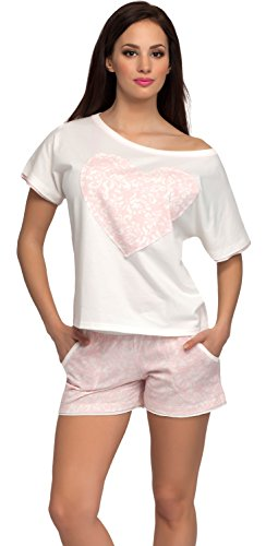 Italian Fashion IF Damen Pyjama Maya 0227 Ecru/Lachs