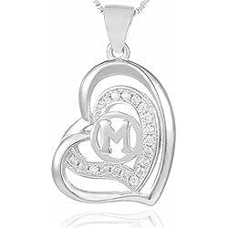 Morella Collier femme pendentif doré en forme de coeur avec lettre M argent 925 rhodié avec zircons blancs 46 cm