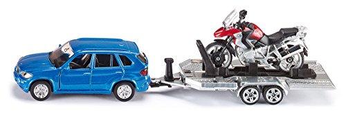 SIKU 2547, Voiture avec remorque et moto, 1:55, Métal/Plastique, Bleu/Rouge, Plate-forme de chargement basculante