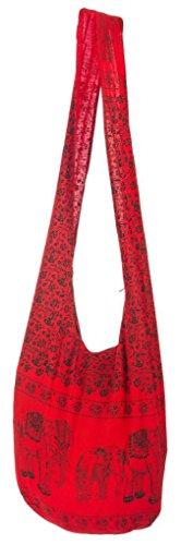 Lofbaz Damen Elephant Cotton Umhängetasche Tasche Rot (Hobo 0)
