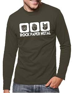 Touchlines Men's Logo Long-Sleeved T-Shirt Stone Paper Rock Heavy Metal Design khaki Size:S