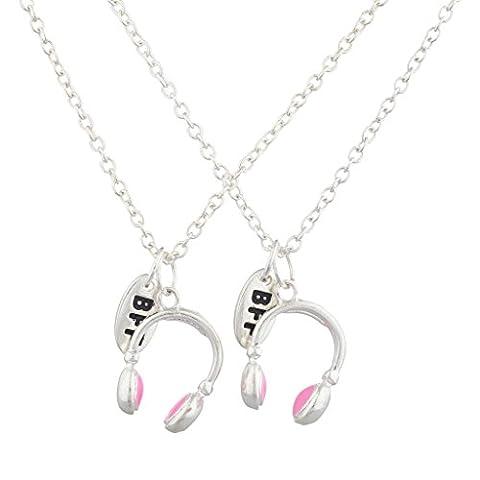 LUX Zubehör Silber Ton Pink Kopfhörer BFF Best Friends Halskette Set (2)