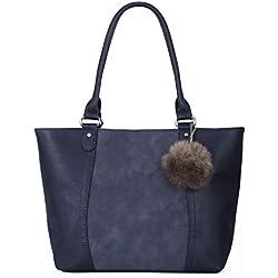 CRAZYCHIC - Bolso de Mano Grande Mujer - Tote Shopper Cuero PU - Bolsos de Hombro Estudiantes - Cartera Escuela Trabajo - Bolso de Asa Superior Gran Capacidad - Shopping Bag Moda - Azul