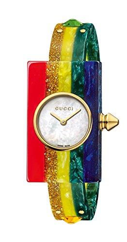 Gucci plexiglás–Studded pulsera reloj ya143520
