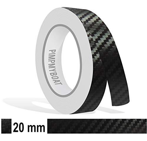 Zierstreifen 10m Carbon schwarz 20mm Zier Streifen 2cm Glanz Auto Boot Jetski Modellbau Vinyl Dekorstreifen -