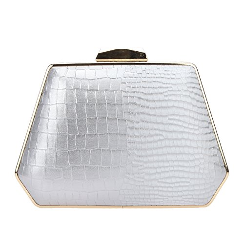 Bonjanvye Snake Pattern Handbag for Women Evening Bags Box Clutch Purse Gray