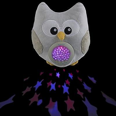 Bubzi Co Baby Weißes Rauschen Spielzeug Schlafhilfe & Nachtlicht & Beruhigende Sound-Maschine & Babyparty-Geschenk, LED-Sternenprojektor & tragbare Stofftier-Eule mit 10 beliebten Schlafliedern & Kinder-Musik zum Einschlafen, Kuscheltier von Bubzi Co - L