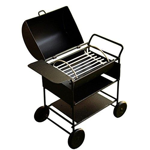 Grill-schwarzes Finish (MagiDeal Miniatur Barbecue BBQ Grillwagen für 1/12 Puppenhaus Outdoor Garten Dekoration - Schwarz)