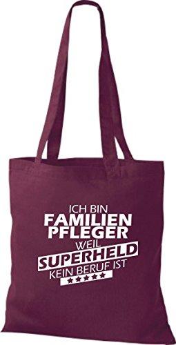 Beruf Familien bin kein weil Pfleger Stoffbeutel Shirtstown Ich ist weinrot Superheld RT18qw