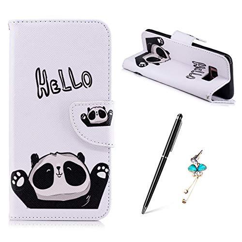 Samsung Galaxy S8 Hülle, Gemalt Muster Schutzhülle Lederhülle Magnetische Schnalle Premium PU Leder Flip HandyCase Brieftasche Kreditkarte Taschen Etui Handyhülle - HEELO Panda