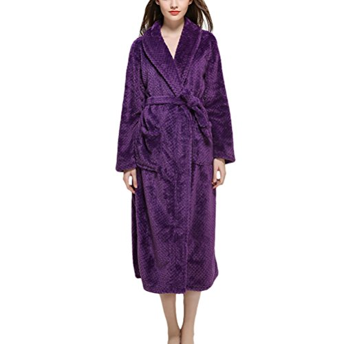 Zhhlinyuan Herren und Damen Shawl Collar Waffle Coral Fleece Flannel Bath Robe Morgenmäntel Kimono Luxury Soft Thick Housecoat Bademäntel für Adults Gym Shower Spa Hotel Solid Color (Kimono Belted Robe)