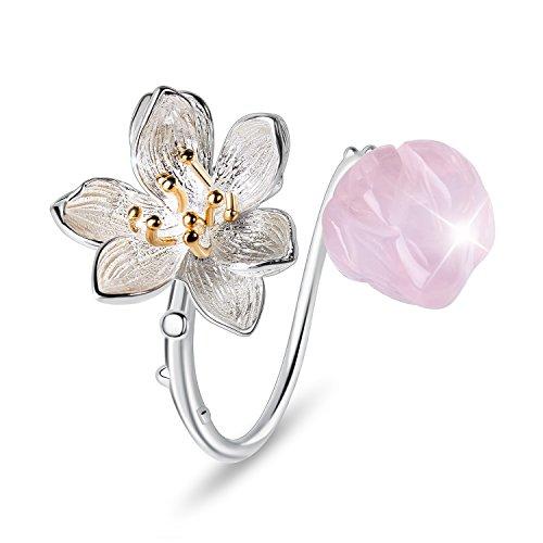 Lotus Fun S925 Sterling Silber Damen Ringe Lotus Blume Offener Rring Handgemachte Schmuck für Frauen und Mädchen. (Pink)
