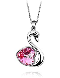 Crystal Swan Pendant Necklace Made with Swarovski Crystal, with a Gift Box