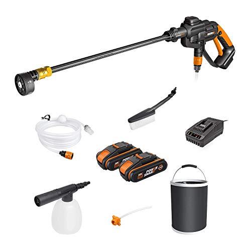 WORX 20V Nettoyeur Haute Pression Batterie WG620E.4 Hydroshot, 2.0Ah, 120L/h Pistolet de Nettoyage avec 6m tuyaux et brosse pour voiture jardin vitre terrasse