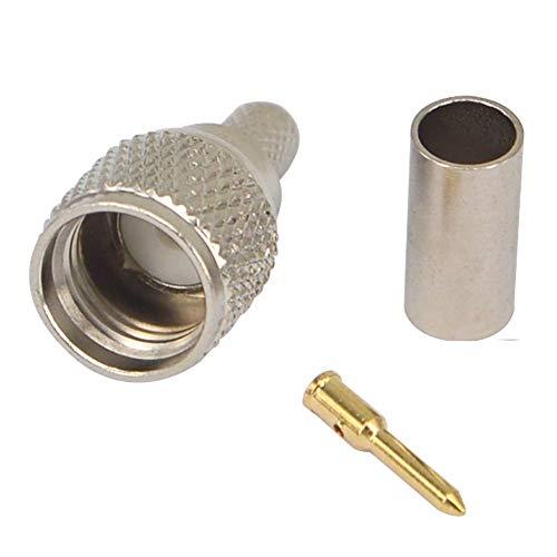 YILIANDUO 5 stücke Mini UHF Stecker Crimp Plug Gerade HF Koaxialsteckverbinder Testkonverter für RG58 RG142 LMR195 Koaxialkabel -