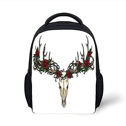 Kids School Backpack Antler Decor,Skull with Romantic Roses Vintage Spiritual Design Gothic Style Skeleton Decorative,Ivory Red Green Plain Bookbag Travel Daypack (Panda Skeleton Red)
