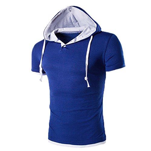Italily uomo t-shirt casual a maniche corte con cappuccio da uomot felpe con cappuccio pullover magliette grafiche con maniche (blue, xl)