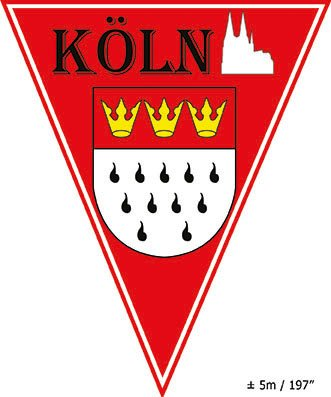 Wimpelkette 5 Meter lang mit 10 Wimpelfähnchen Köln mit Kölnwappen rot weiß