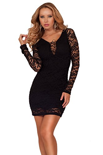 Long Sleeve Sheer Lace Up Bust Ausgestattet Bodycon Abend Club Party Cocktailkleid Schwarz
